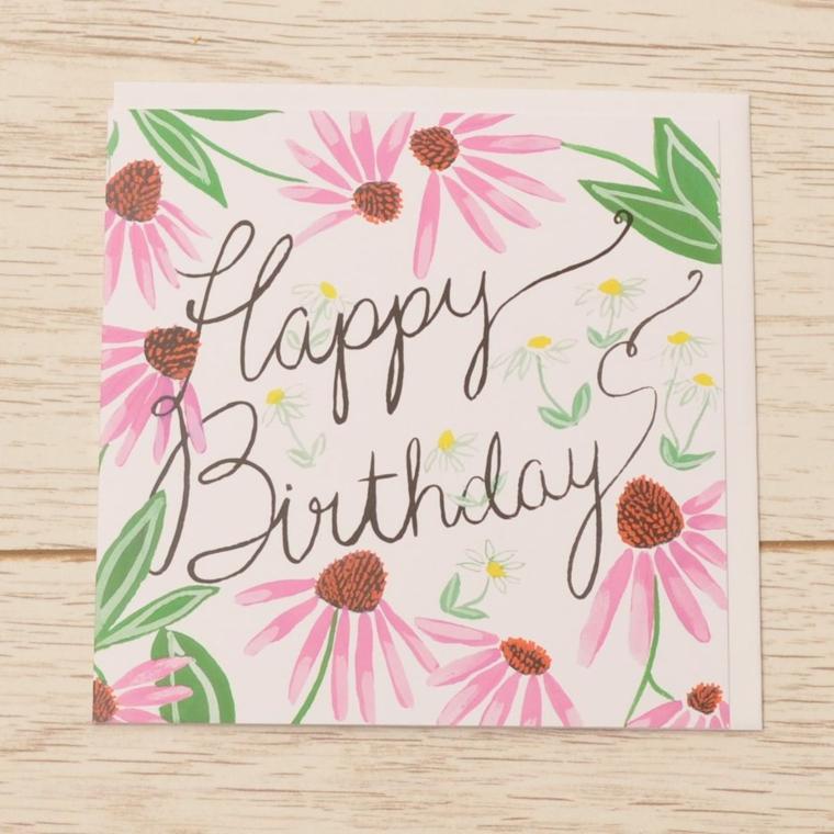 Biglietti di auguri di buon compleanno, cartolina con disegni di fiori e scritta in inglese