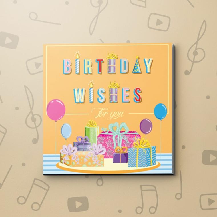 Immagini di buon compleanno, cartolina con stampe di regali e scritta birthday wishes