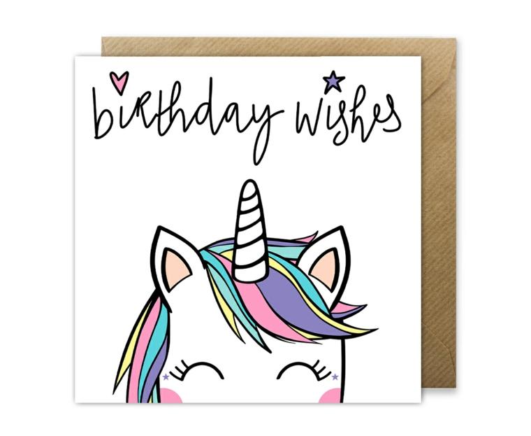 Auguri di buon compleanno originali, cartolina con disegno di unicorno e scritta in inglese