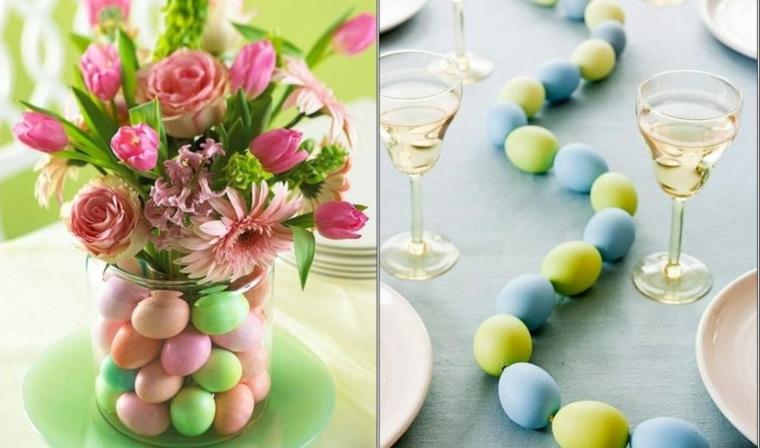 Auguri di Pasqua divertenti, foto di un centrotavola con uova colorate e bouquet di fiori