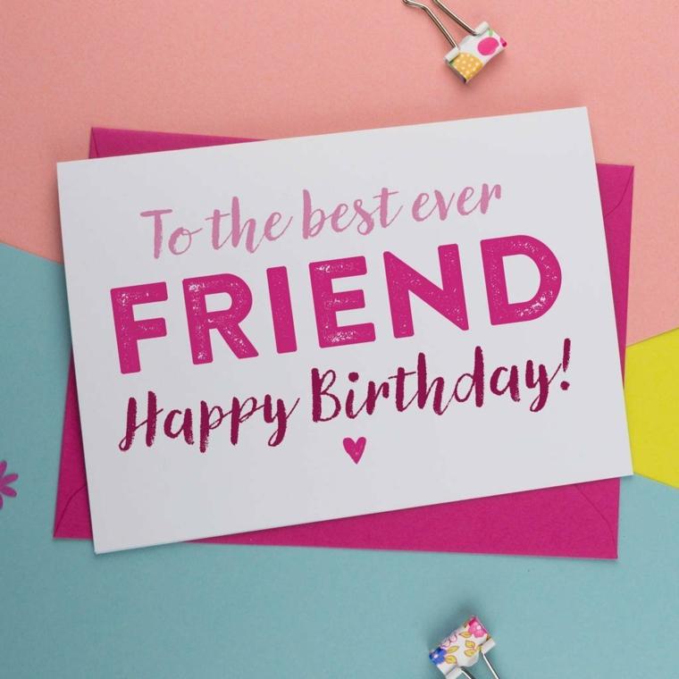 Tanti auguri di buon compleanno, cartolina con scritta in inglese per un amico