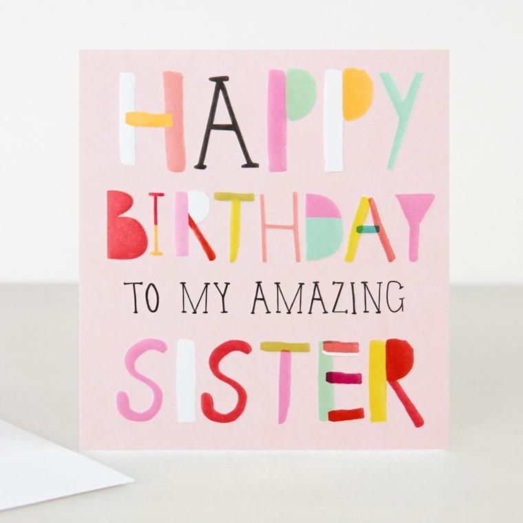 Biglietti di auguri di buon compleanno, cartolina con scritta per la sorella