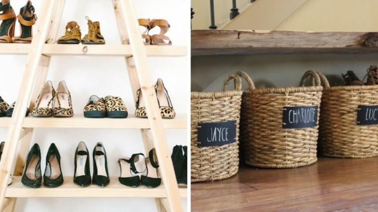 Scarpiera fai da te, scala di legno con mensole per le scarpe, cestini in vimini per scarpe