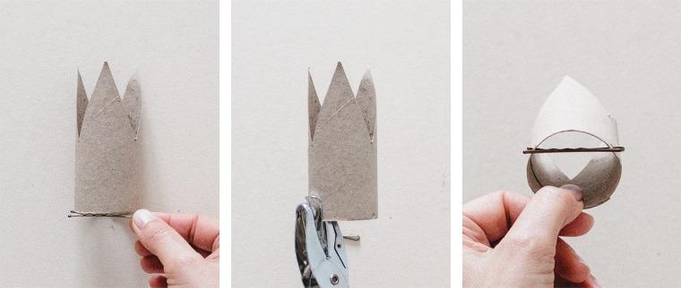Riciclo rotoli di carta igienica, corona con molletta fissata, tutorial molletta a forma di corona