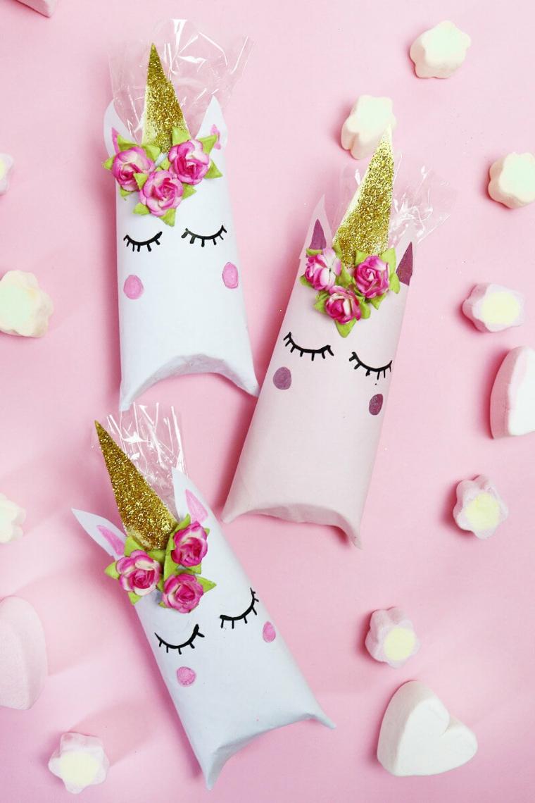 Scatola di cartone per caramelle con disegno unicorno, lavoretti con la carta facilissimi