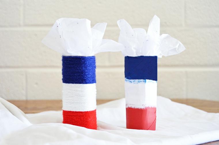 Contenitori fai da te per fazzoletti, riciclo rotoli di carta igienica dipinti con colori acrilici