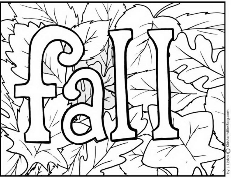Lavoretti autunnali per bambini, disegno di foglie con scritta fall in inglese