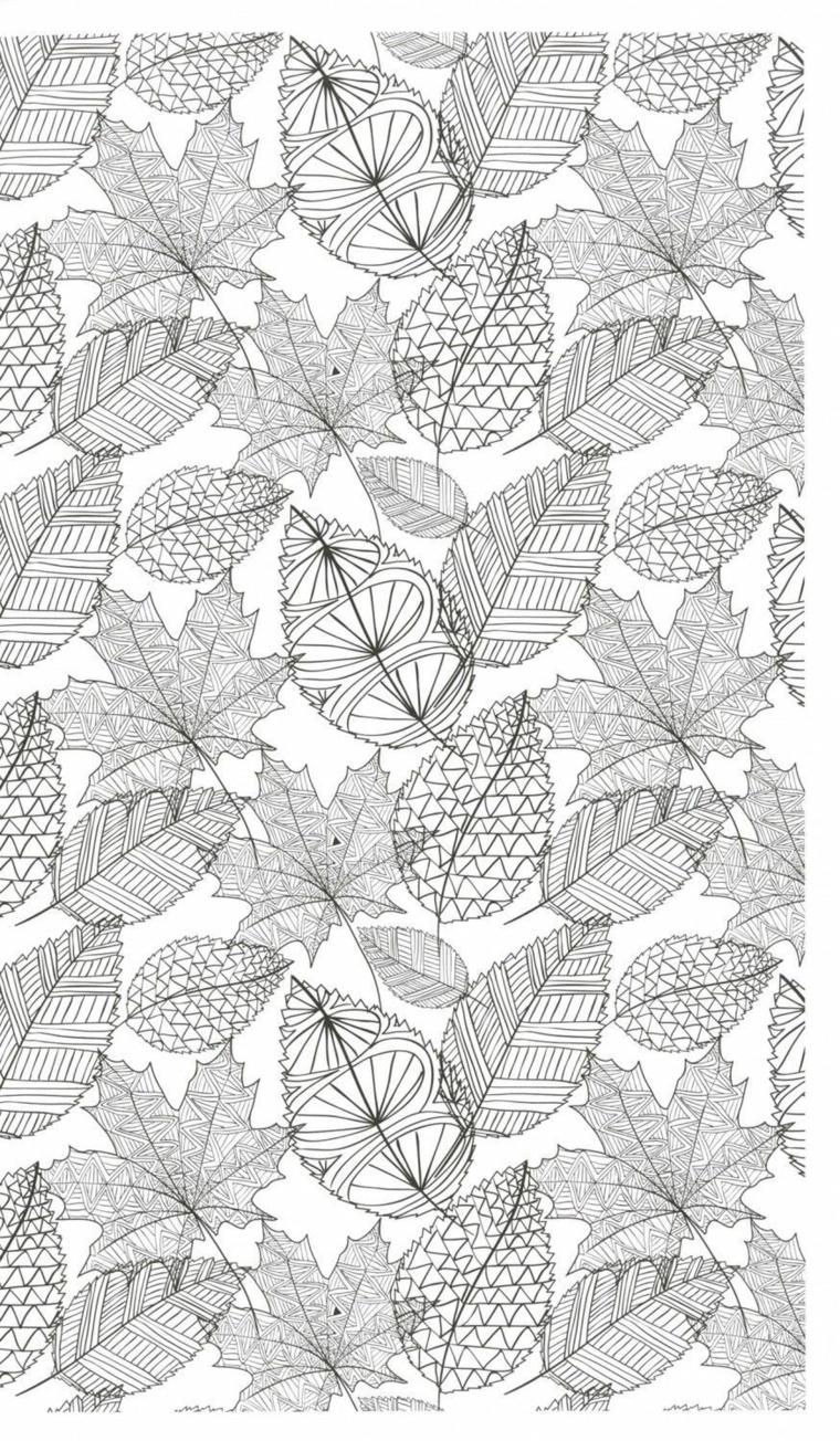 Autunno da colorare, disegni di tante foglie con abbellimenti mandala