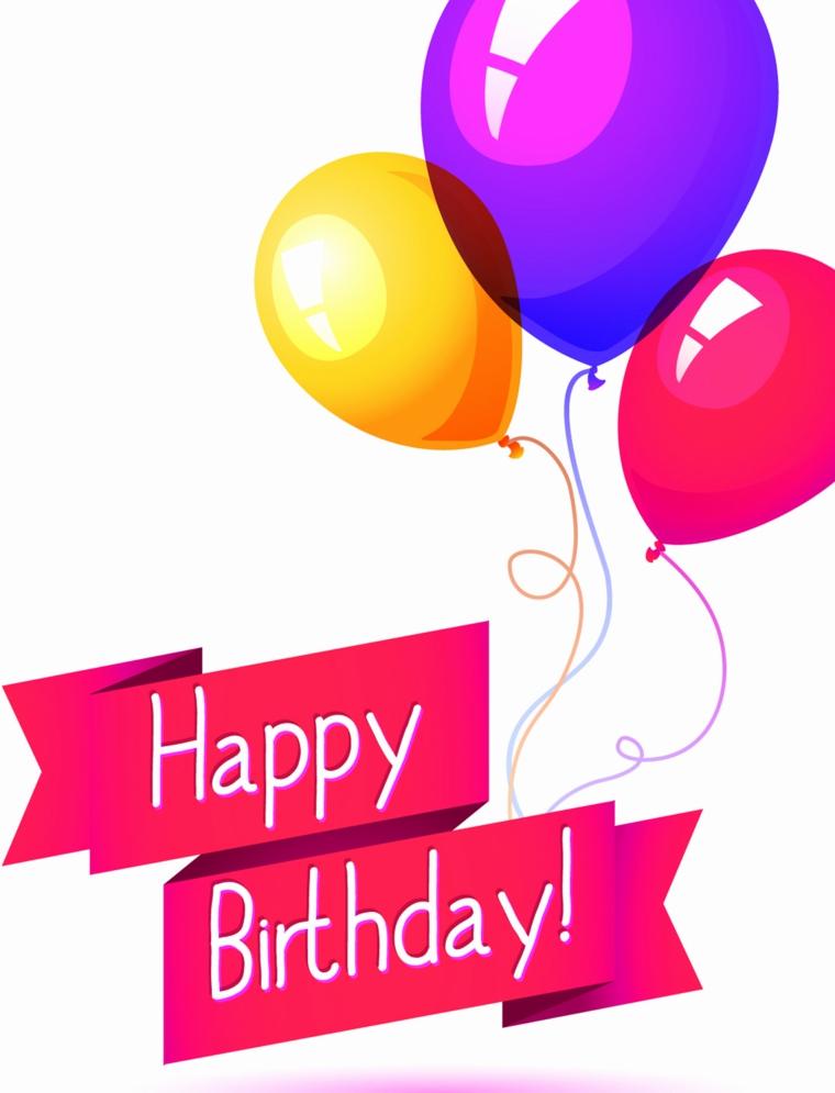 Immagini auguri di compleanno simpatici, immagine con palloncini e scritta in inglese
