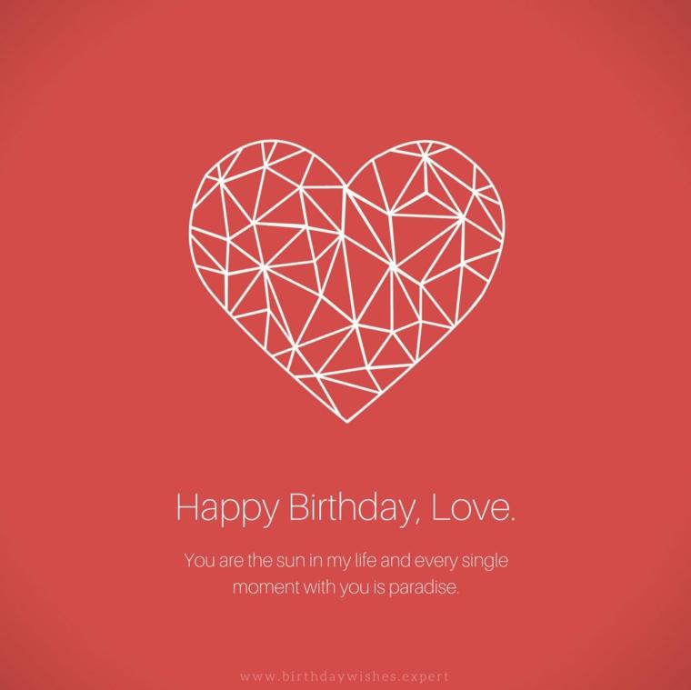 Auguri di compleanno simpatici, immagine con sfondo rosso e disegno di un cuore
