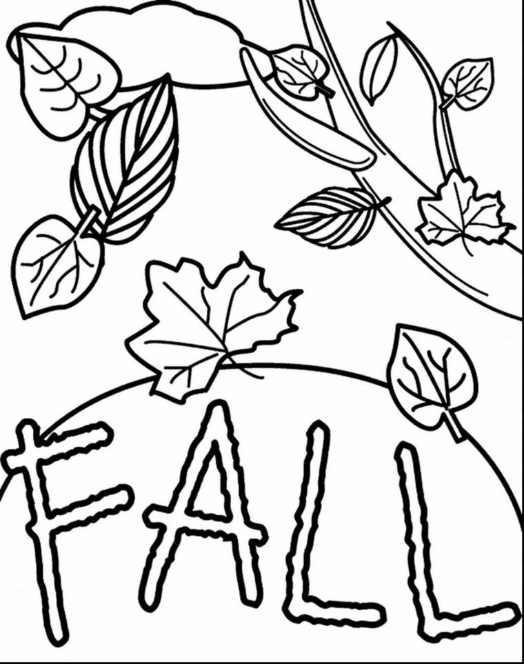 Scritta fall in inglese da colorare, lavoretti autunnali per bambini