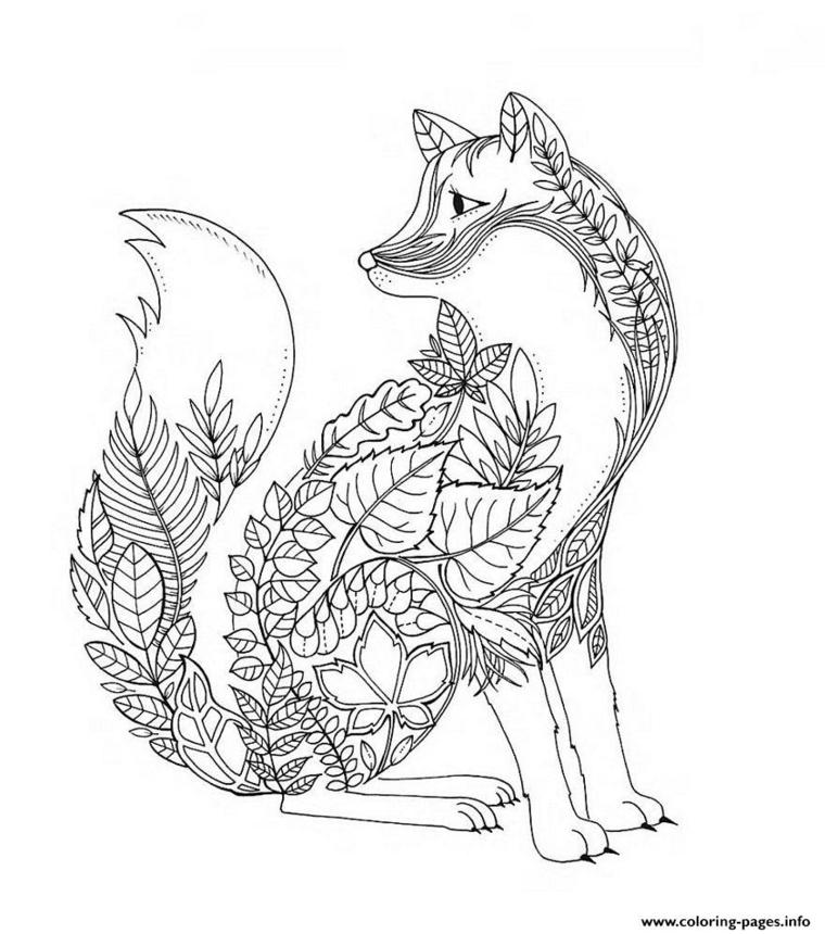 Immagini autunno da colorare, disegno di una volpe con foglie sul corpo