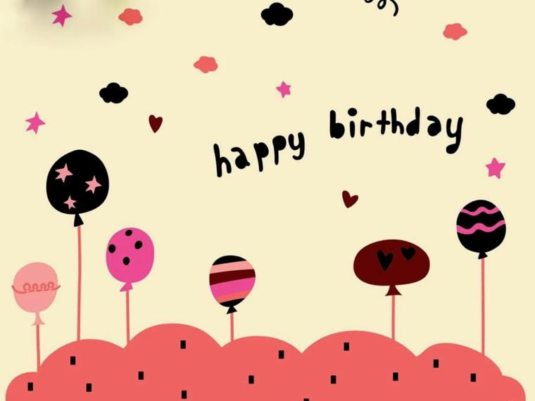 Tanti auguri di buon compleanno, bigliettino con disegni di palloncini e scritta in inglese