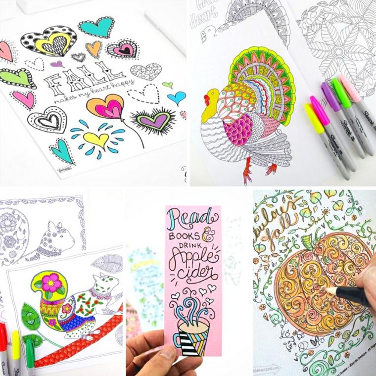 Disegno autunnale con scritte e foglie, foglio con disegno di foglio e pennarelli