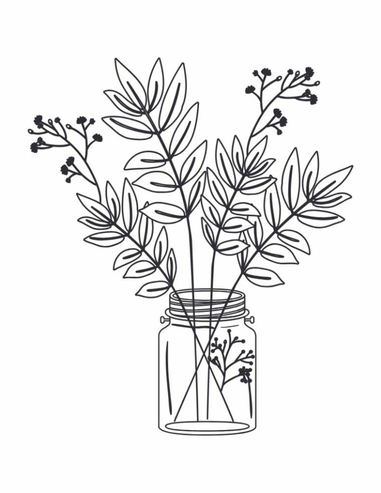Disegno foglie autunno, disegno di un barattolo con fiori e foglie da colorare