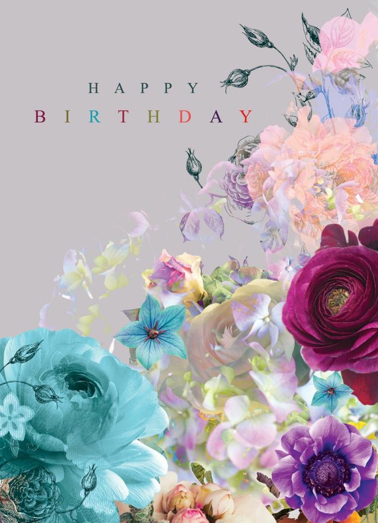 Immagini di buon compleanno, foto con fiori e scritta Happy Birthday in inglese