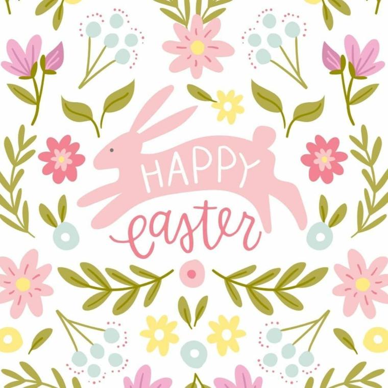 Disegno colorato di fiori e un coniglio con scritta, immagini di Pasqua divertenti