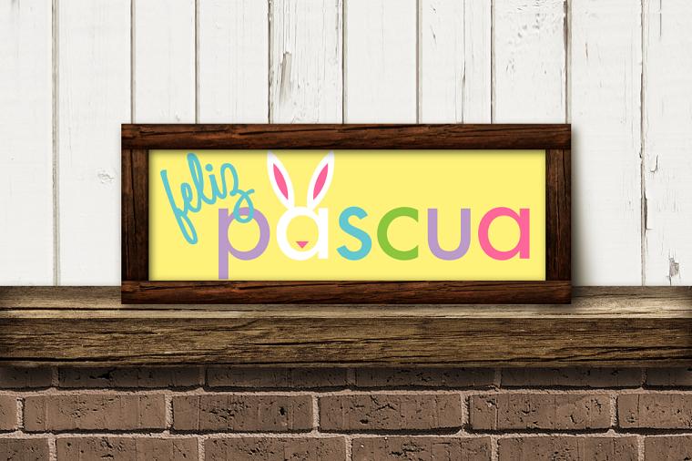 Scritta in spagnolo in cornice di legno, immagini di Pasqua divertenti