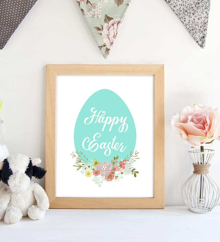 Immagini di buona Pasqua gratis, foto di una cornice di legno con scritta Happy Easter