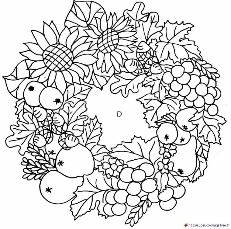 Disegni autunno da colorare, ghirlanda con frutta e girasoli da colorare