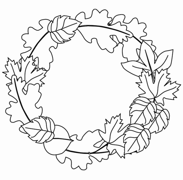 Disegni sull'autunno da colorare e stampare, disegno di una ghirlanda con foglie