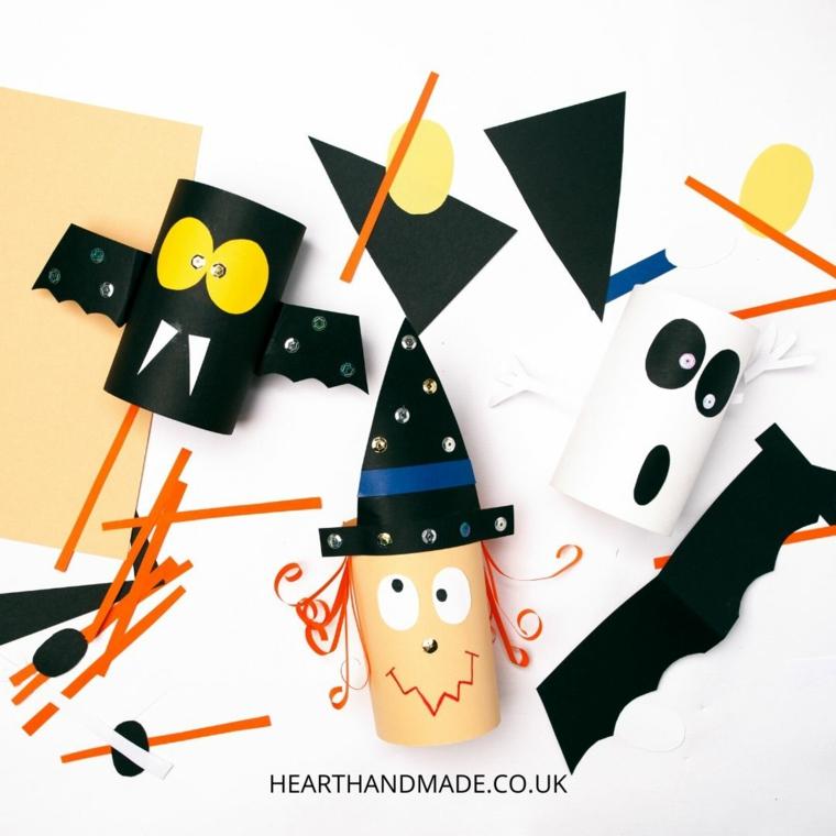 Decorazioni con rotoli di carta per Halloween, lavoretti con la carta facilissimi