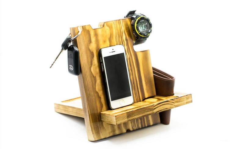 Portaoggetti di legno per uomo, portaoggetti con telefono e orologio, idee regalo anniversario per lui