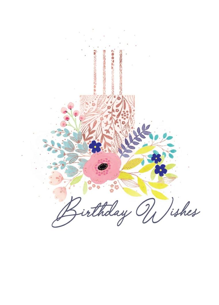 Auguri di compleanno simpatici, immagine con sfondo bianco e disegno di torta e fiori