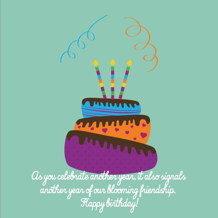 Immagine con disegno di una torta con candele, immagine con scritta auguri di compleanno in inglese