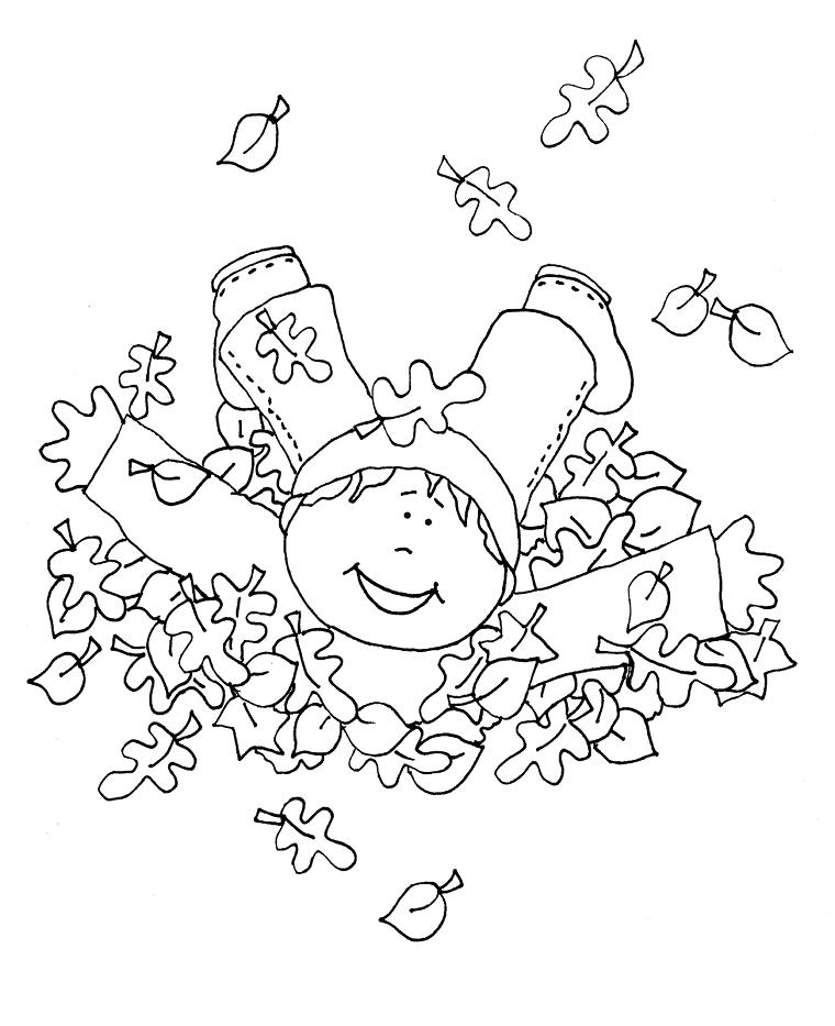 Foglie da colorare, disegno di un bambino che si rotola nelle foglie secche