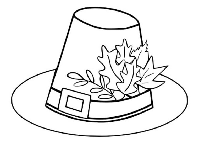 Disegni autunno da colorare, disegno di un cappello con delle foglie