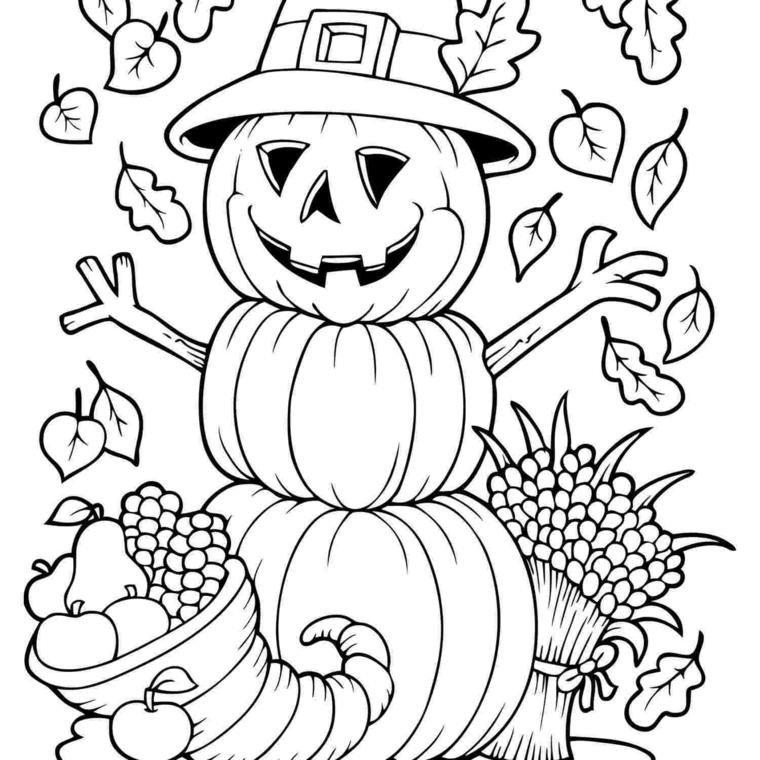 Autunno da colorare, disegno di un spaventapasseri con zucca e foglie autunnali