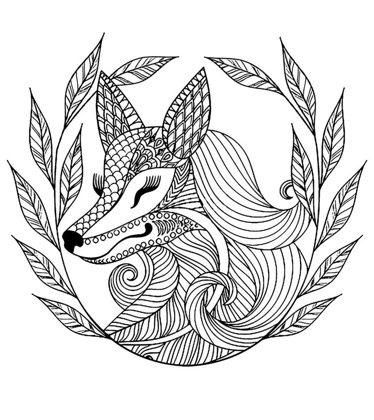 Foglie da colorare, disegno di una volpe con corona di foglie da colorare