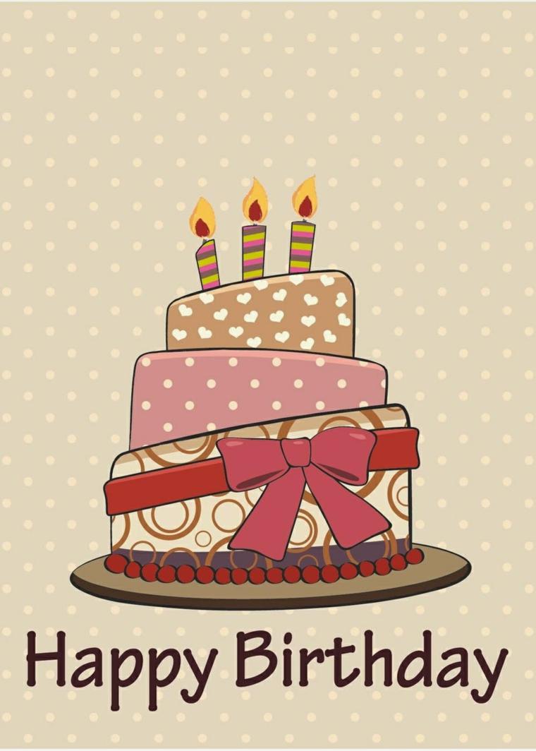 Come augurare buon compleanno, immagine di un disegno di torta con candele
