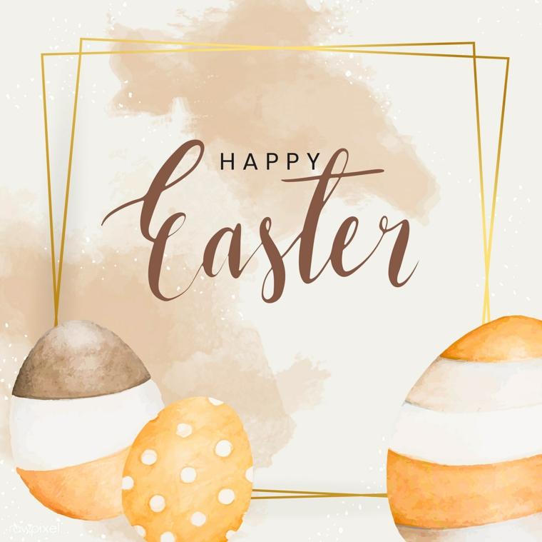 Frasi auguri di Pasqua simpatici, foto con disegno di uova e scritta Happy Easter
