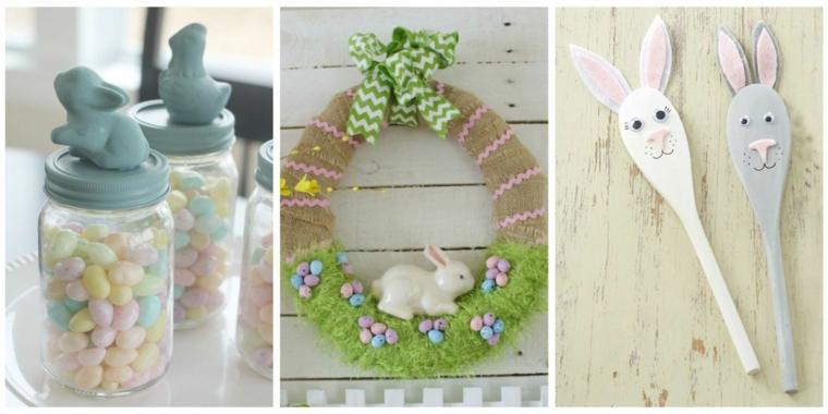 Auguri di Pasqua divertenti, foto con barattolo di ovetti e cucchiaio di legno