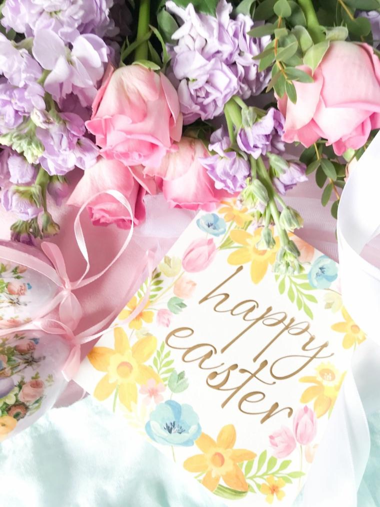 Frasi di Pasqua simpatici, foto di un bouquet di fiori e cartolina Happy Easter