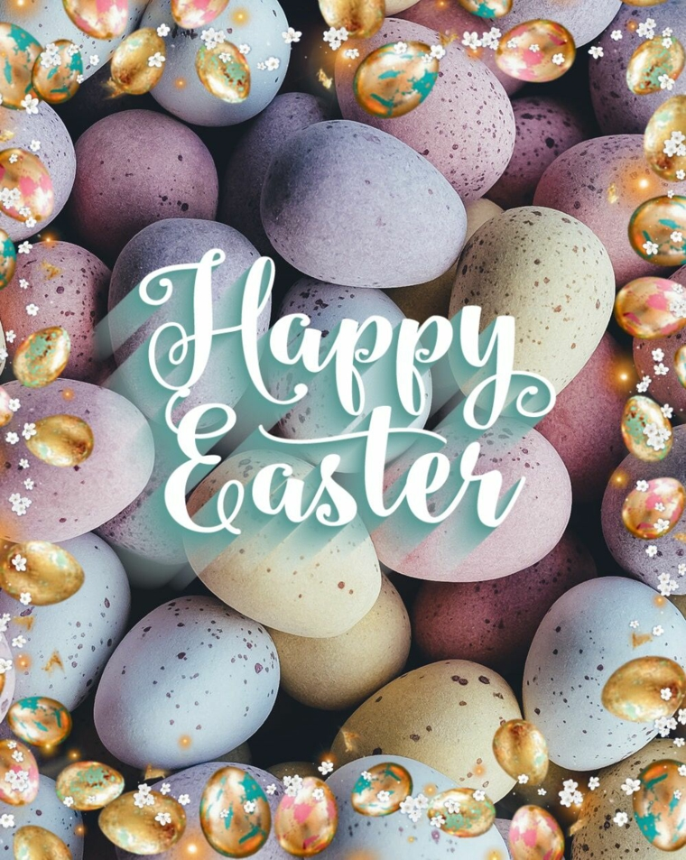 Foto di uova pasquali colorate, auguri di buona Pasqua immagini