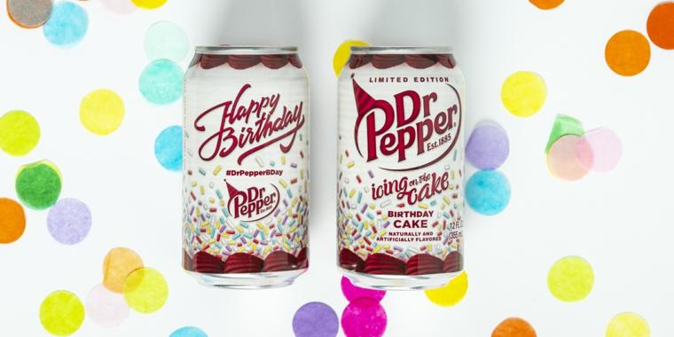 Tanti auguri di buon compleanno, immagine con lattine disegnate per compleanno