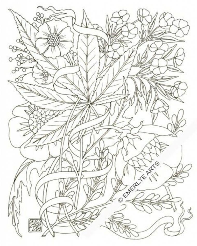 Autunno da colorare, disegno da stampare con foglie e fiori da colorare