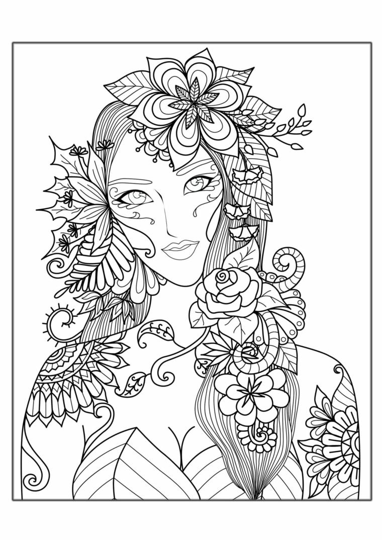 Autunno da colorare, disegno di una ragazza con foglie sulla testa e mandala da colorare
