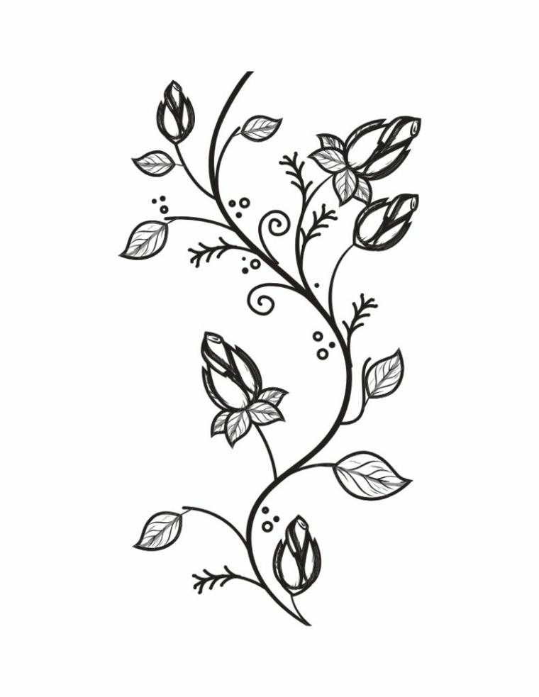Foglie da colorare, disegno di un ramo con fiori e foglie da colorare
