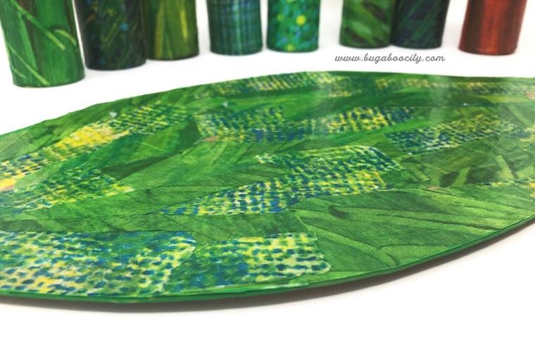 Foglia colorata di verde, rotoli di carta colorati di verde, creazioni con rotoli di carta igienica