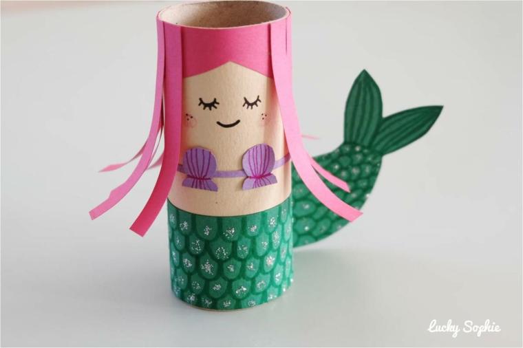 Cose da fare con la carta, rotolo di carta igienica a forma di sirena con capelli rosa
