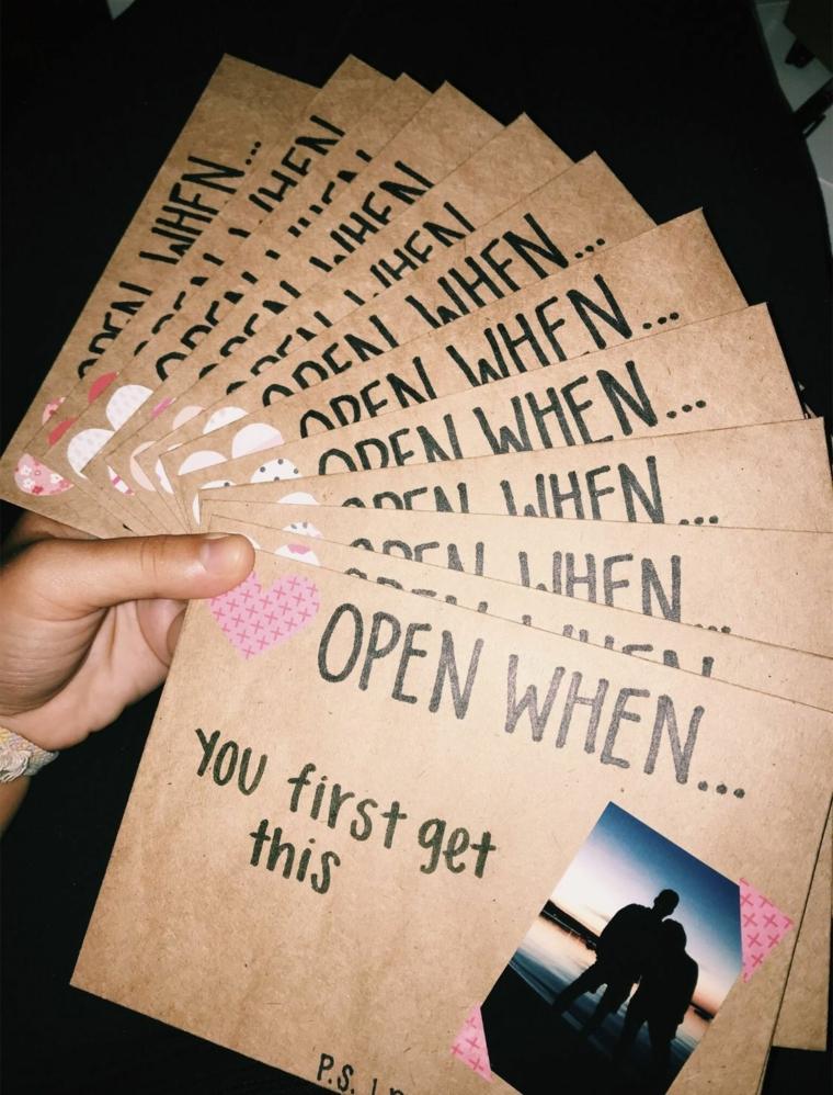 Regali per lui romantici, buste con lettere con foto e scritte in inglese