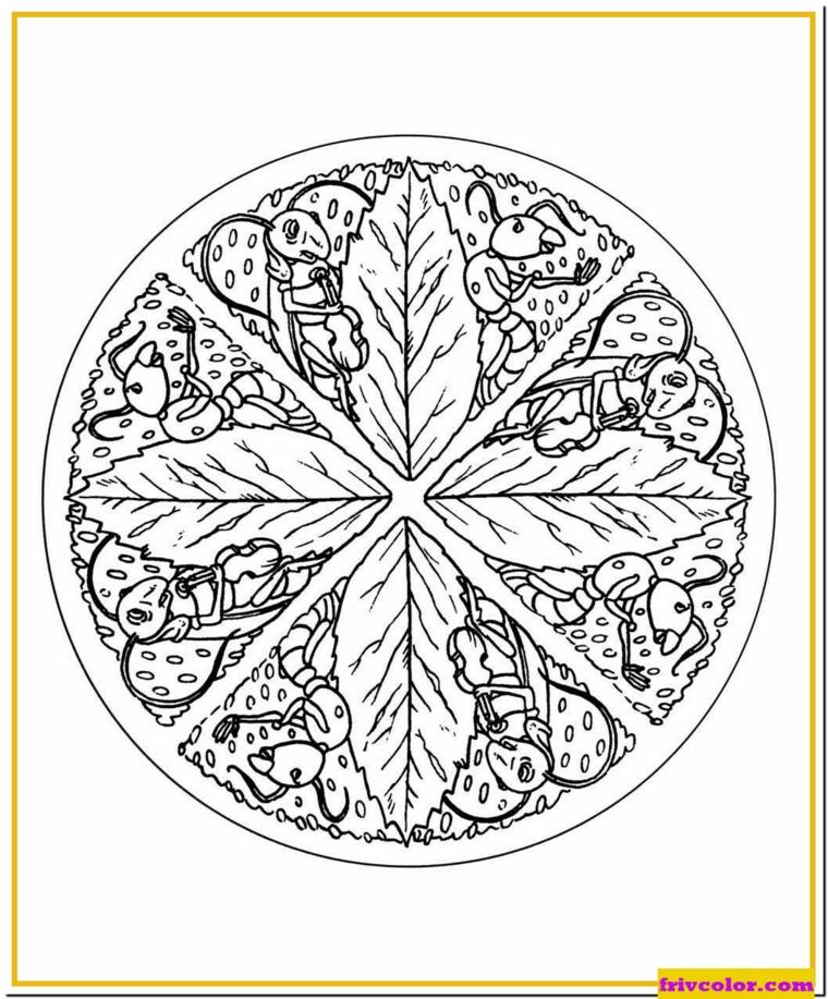 Disegno di un cerchio con rami e foglie, disegno di foglie autunnali da colorare