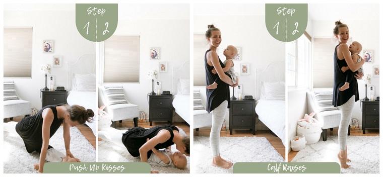 Workout a casa, donna che si allena sul tappeto in camera, allenamento per mamme con bambini