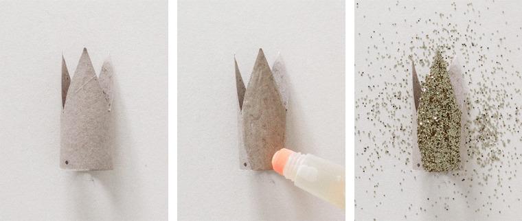 Cose da fare con la carta, corona con colla stick e glitter, molletta a forma di corona