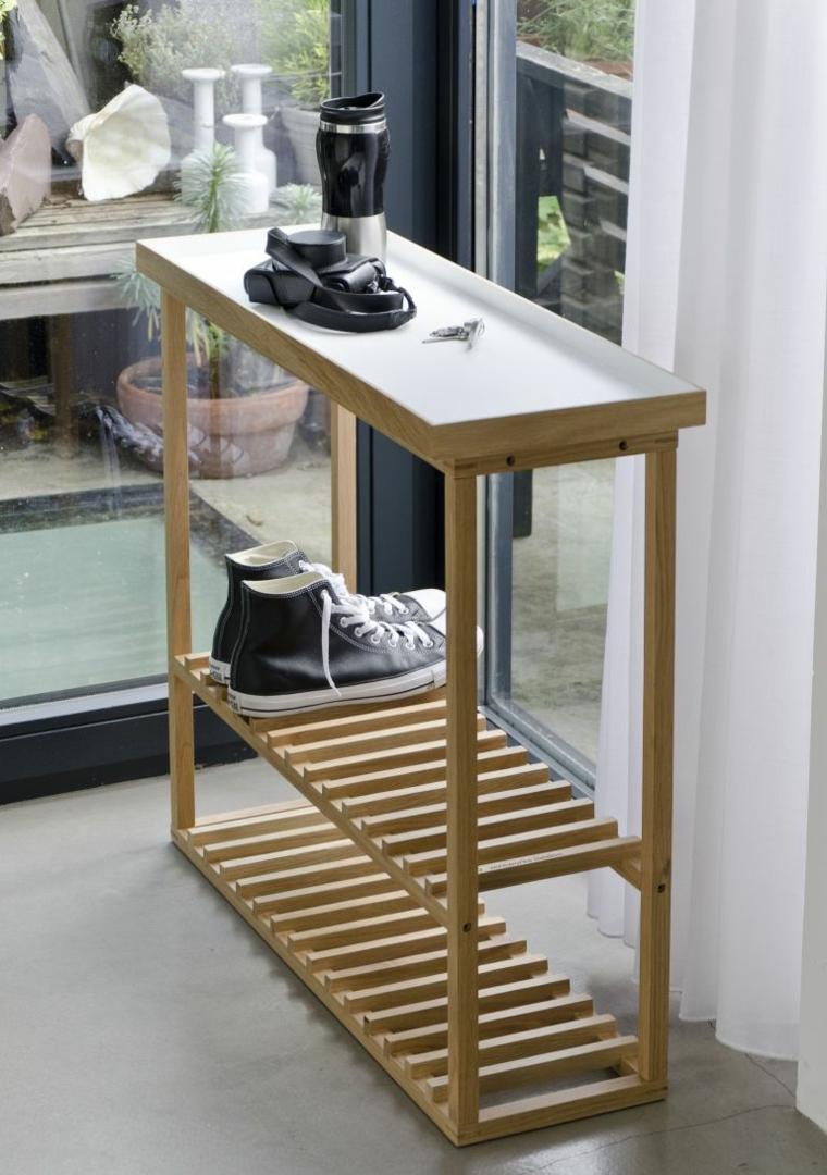 Portascarpe fai da te, mobile di legno con scaffali, ingresso con mobile di legno per le scarpe