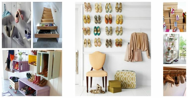 Idee scarpiera fai da te, mobili di legno per le scarpe, collage di foto per le scarpe